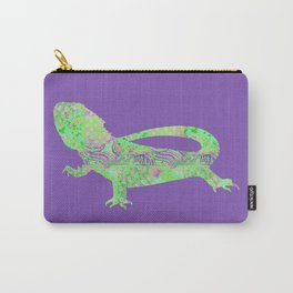 Bearded Dragon Vintage Floral Pattern Purple Green Mint Pink Shabby Chic Carry-All Pouch