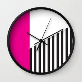 Minimal Triangles Black-White-Magenta Wall Clock
