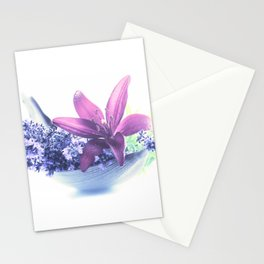 Summer flower pattern lilies and lavender Stationery Cards