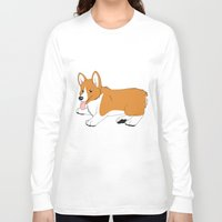 corgi Long Sleeve T-shirts featuring Corgi by Leslie Pierrot