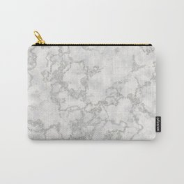 Metallic Silver & White Marble Texture Carry-All Pouch