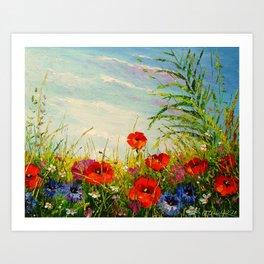 Field in poppies and cornflowers Art Print