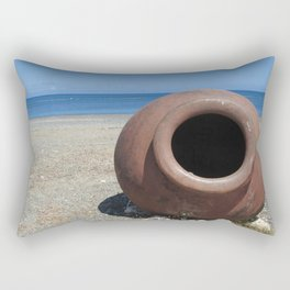 Traditional Greek Terracotta Pot on the Beach Design Rectangular Pillow