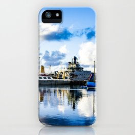 View of Boats on the Sea behind the Harpa Concert Hall in Reykjavik, Iceland iPhone Case