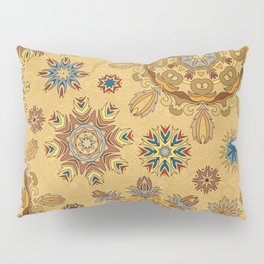Floral pattern with stylized snowflakes. Christmas winter snow theme pattern. Pillow Sham