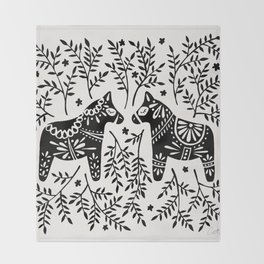 Swedish Dala Horses – Black Palette Throw Blanket