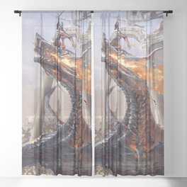 Marvelous Mystic Ancient Monster Beast Wrestling Courageous Gallant Warrior UHD Sheer Curtain