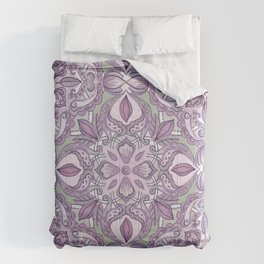 Lavender & Grey - Colored Crayon Floral Pattern Comforters