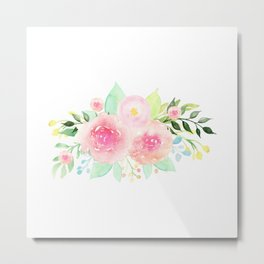 Bouquet OF flowers PINK WITH green - PAINTED - watercolor Metal Print