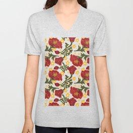 Vintage Crepe Floral Unisex V-Neck