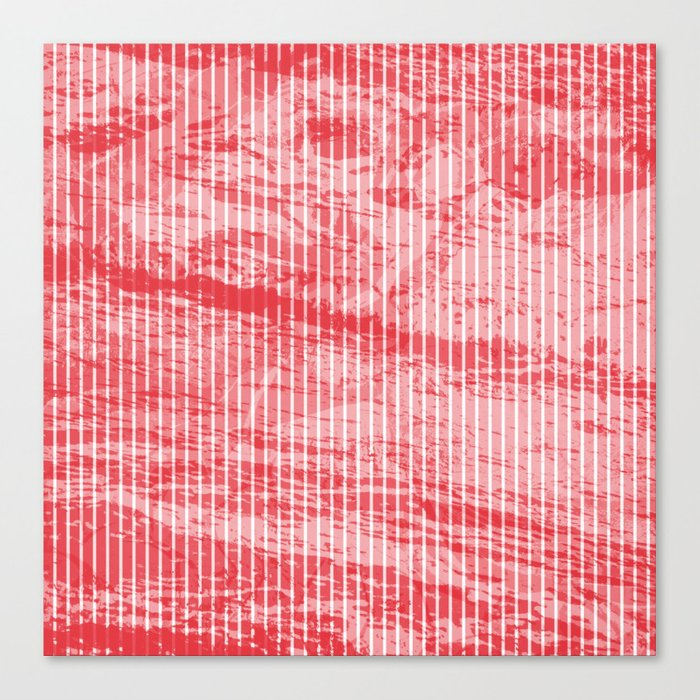 Grunge red and white stripes texture Canvas Print