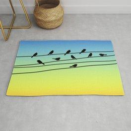 Birds on Power Lines Blue Yellow Sunset Gradient Rug