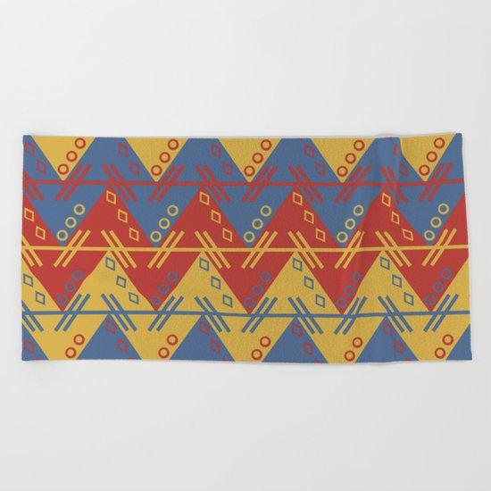 Tribal Zigzag Line Pattern Beach Towel