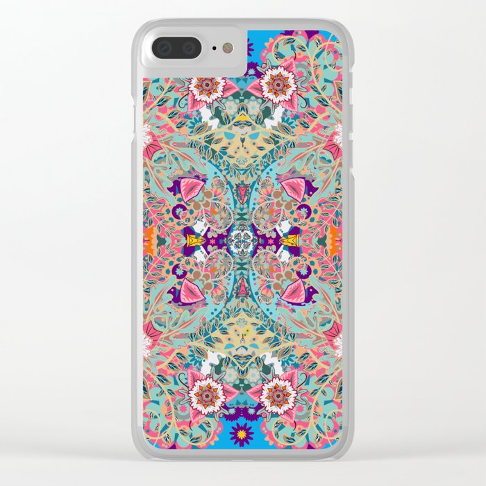 Mandala - Turquoise Boho Clear iPhone Case