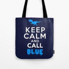 Keep Calm and Call Blue | Jurassic Raptor Dinosaur Tote Bag