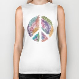 Feathers for Peace (Peace Sign) Biker Tank