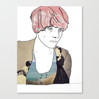 introvert Canvas Prints featuring introvert girl by Katharina Nachher