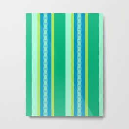 Mid-Century Awning Stripes, Jade Green and Blue Metal Print