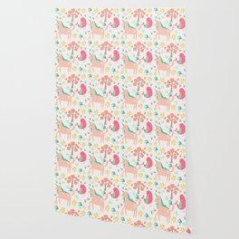 Cute cartoon unicorns & birds pattern Wallpaper