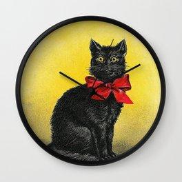 Pretty Black Cat- Vintage Cat Wall Clock