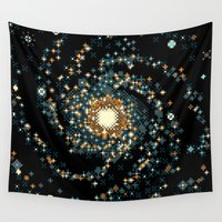 8bit Wall Tapestries featuring Pinwheel Galaxy M101 (8bit) by Sarajea