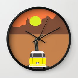 On the road (Yellow van) Wall Clock