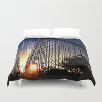 coasters Duvet Covers featuring Mamba Roller Coaster at Sunset Grunge by The Eclectic Mind