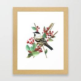Berry Nice Chickadee Framed Art Print