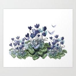 """""""Spring garden of blue cyclamen and butterflies"""" Art Print"""