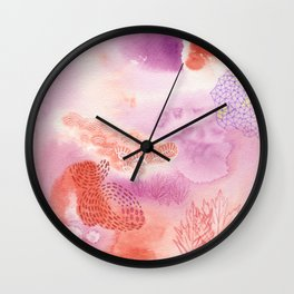 Herb Song in Lavender with Mugwort Contemporary Abstract Watercolor Painting Wall Clock