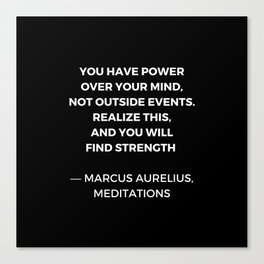 Stoic Wisdom Quotes - Marcus Aurelius Meditations - Find Strength Canvas Print