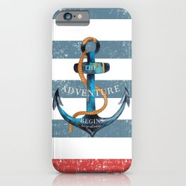Maritime Design - Nautic Anchor on stripes in blue and red iPhone Case