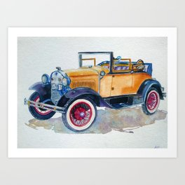Vintage yellow orange car Art Print
