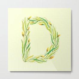 Leafy Letter D Metal Print