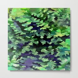 Foliage Abstract Camouflage In Forest Green and Black Metal Print