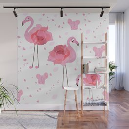 Flamingo with pink hand drawn roses, hearts and cactus Wall Mural