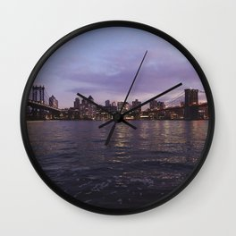 Between Two Iconic New York Bridges Wall Clock