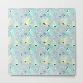 Abstract mint pastel blue teal floral illustration Metal Print