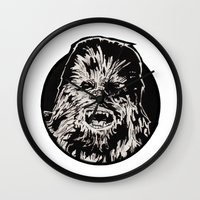 chewbacca Wall Clocks featuring Chewbacca by LaurenNoakes