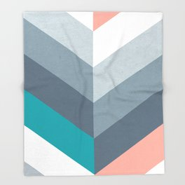 Vertical Chevron Pattern - Teal, Coral and Dusty Blues #geometry #minimalart #society6 Throw Blanket