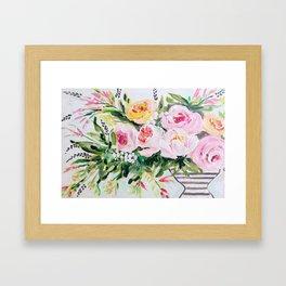 Peony bouquet Framed Art Print