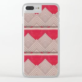 Red and Grey Deco Geometric print Clear iPhone Case
