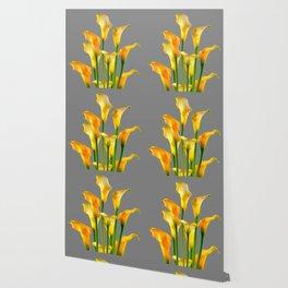 DECORATIVE GOLDEN CALLA LILY FLOWERS ON GREY ART Wallpaper