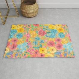 Floral watercolor pattern in yellow Rug