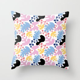 colorful leafs pattern, Matisse style Throw Pillow