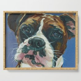Khloe the Boxer Dog Fine Art Portrait Serving Tray
