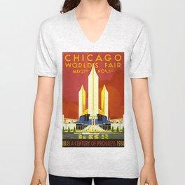 Chicago World's Fair 1933 - Vintage Poster Unisex V-Neck