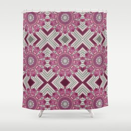 Pink Psychedelic Glued Mandalas 6 Shower Curtain