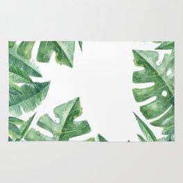 Tropical Green Monstera Watercolor Rug