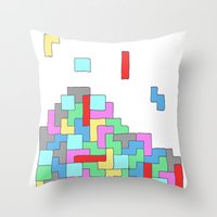 tetris Throw Pillows featuring Tetris by #dancingpenguin